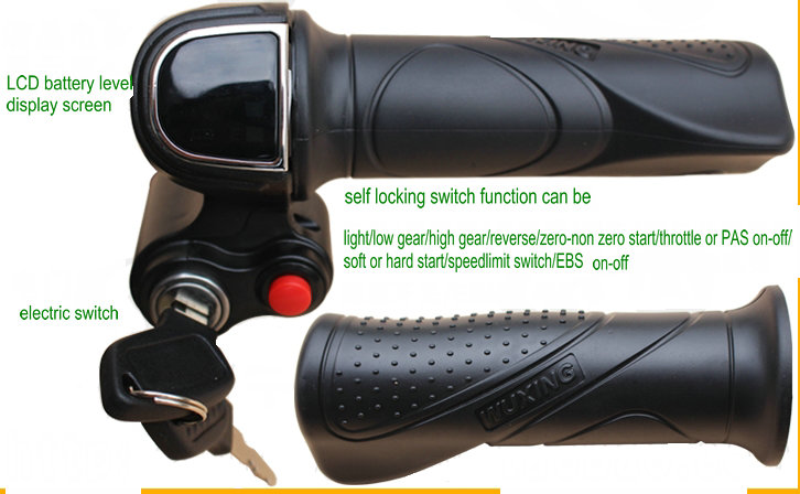 48v60v gas handle twist throttle with battery indicator&latching switch&lock/key electric scooter bicycle parts rolling grips throttle hand grips brake levers throttle housing set for goped gas scooter 43cc 47cc 49cc minimoto bicycle parts