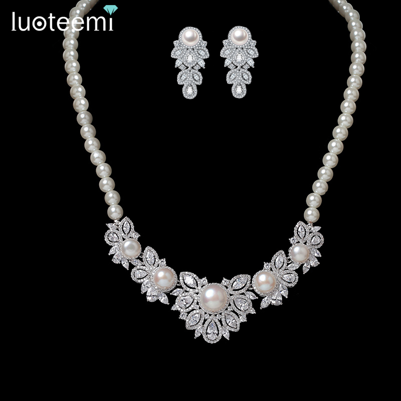 LUOTEEMI Brand Fashion Design Luxury Shining CZ Stone Crystal with Simulated Pearl Flower Pendant Chain Bridal Wedding Jewelry