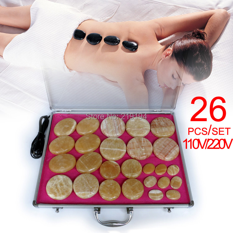 New type! 26pcs/set Hot stone body massager yellow Jade Salon SPA with heater bag ysgyp-nls CE and ROHS