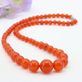 Orange jade 6-14mm round bead stone tower chain,suitable women jewelry necklace 18 inches,send the same paragraph earrings
