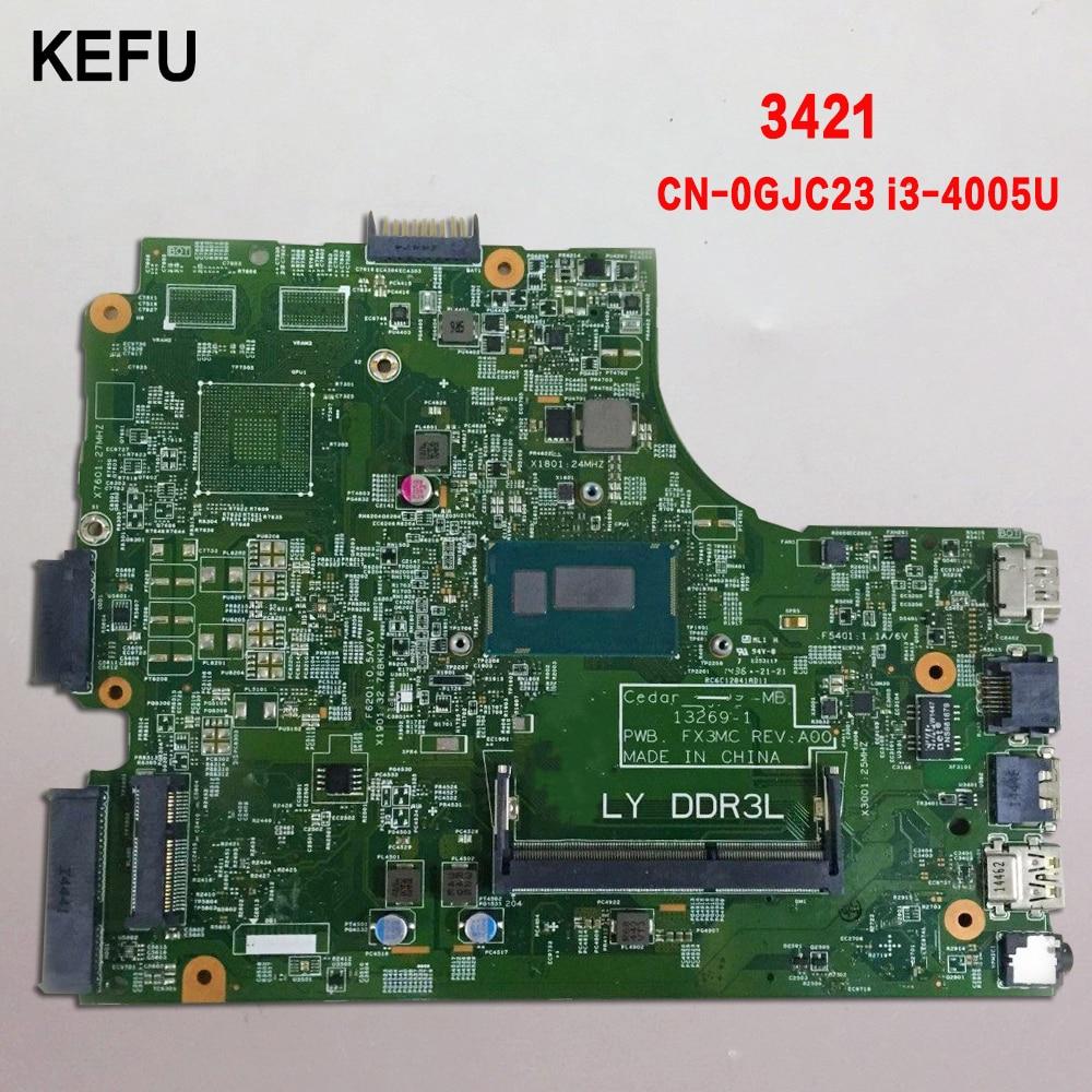 KEFU High quality for Dell Inspiron 3542 laptop Motherboard CN 0GJC23 GJC23 I3 4005U DDR3L 100