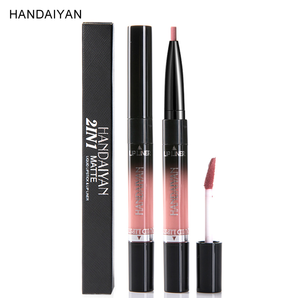 HANDAIYAN 14 colour 2 In 1 Matte Liquid Lipstick&lip Liner Nutritious Moisturizer Lip Gloss Easy To Wear Lip Stain Makeup N45 3