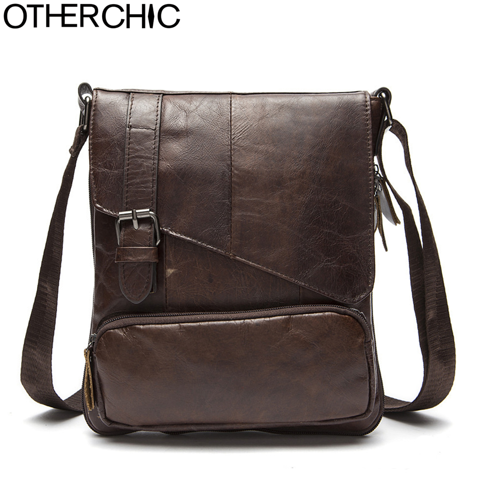 OTHERCHIC Genuine Leather Bags Men High Quality Small Messenger Bags Travel Dark Brown Crossbody Shoulder Bag For Men 7N06-36 hot 2018 genuine leather bags men high quality messenger bags small travel black crossbody shoulder bag for men li 1611