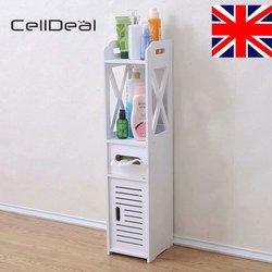 CellDeal White Unit Bathroom Furniture Cabinet Slim Shelf Wood Sink Storage Cabinet Vanity for Bathroom Bedroom Furniture