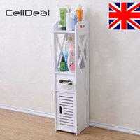 CellDeal White Unit Bathroom Furniture Cabinet Slim Shelf Wood Sink Storage Cabinet Vanity for Bathroom Bedroom Furniture