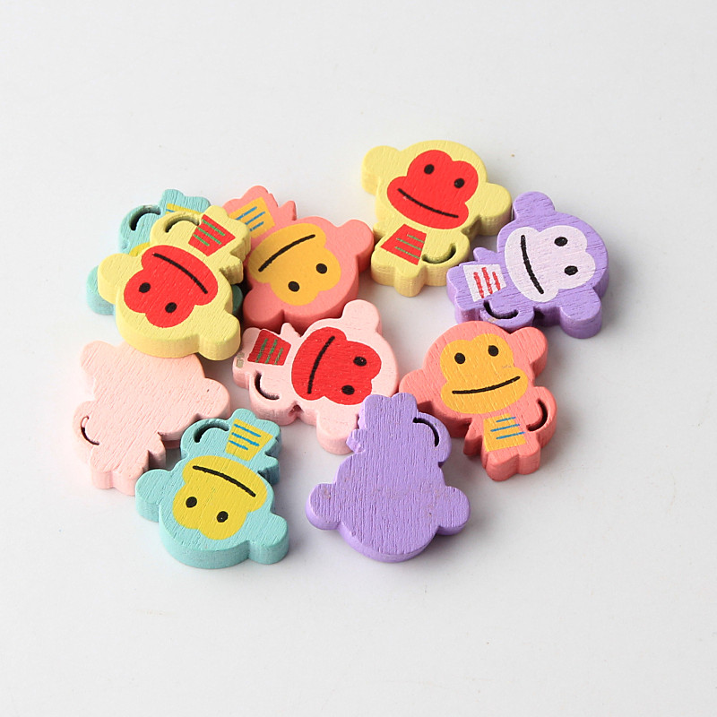 30pcs Cartoon Monkey 20x21mm Wood Beads Spacer Beading For Jewelry Making Diy Baby Bracelet Necklace Beads Beads & Jewelry Making