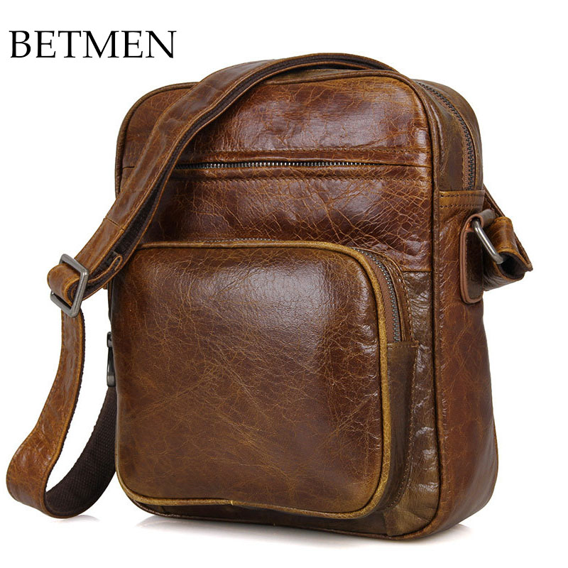 BETMEN Luxury Vintage Genuine Leather Bag Crossbody Male Shoulder Messenger Bags alpine spg 10c2