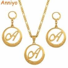 Anniyo цвета золота курсивных букв кулон для Для женщин первоначального цепи Цепочки и ожерелья с надписями на английском языке ювелирные изделия#135006S