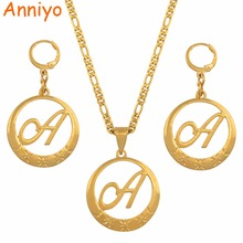 купить Anniyo Gold Color Cursive Letters Pendant for Women Initial Chain Necklace English Letter Jewelry Gifts #135006S дешево