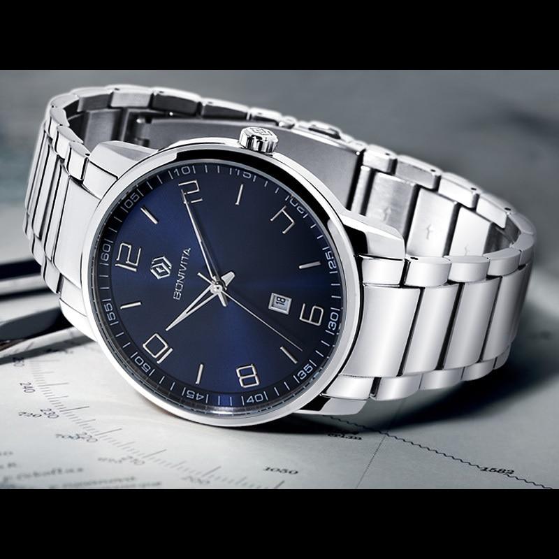 Brand Bonivita Quartz watch Men Business Blue Dial Luxury watches Male Stainless Steel digit Fashion Wristwatch man - Shenzhen Technology Co., Ltd. store