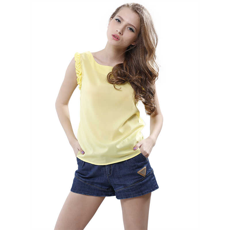 Softu Phụ Nữ Thời Trang Casual Áo Voan Áo Sơ Mi O Cổ Bướm Tay Áo Ren up Bow Rắn Vàng Trắng Loose Blusas