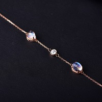 Натуральный лунный камень 18 К золотой браслет