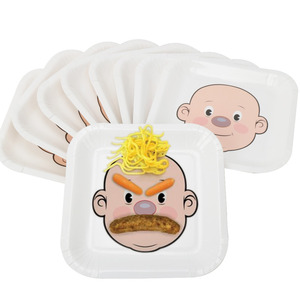 """RiscaWin 10pcs 9""""Cute Face DIY Paper Plates Supplies Party Decoration Disposable Tableware Party Paper Plates Baby Shower Favor"""