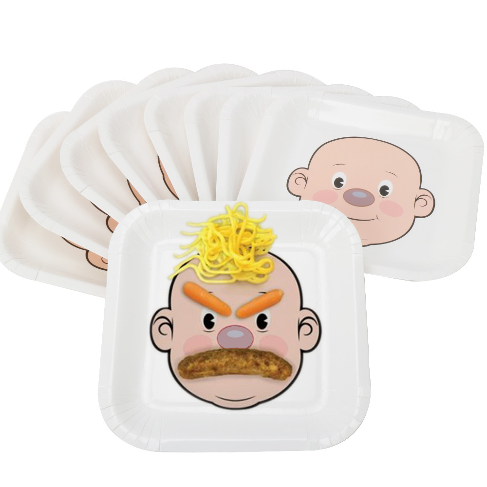 RiscaWin 10pcs 9Cute Face DIY Paper Plates Supplies Party Decoration Disposable Tableware Party Paper Plates Baby Shower Favor