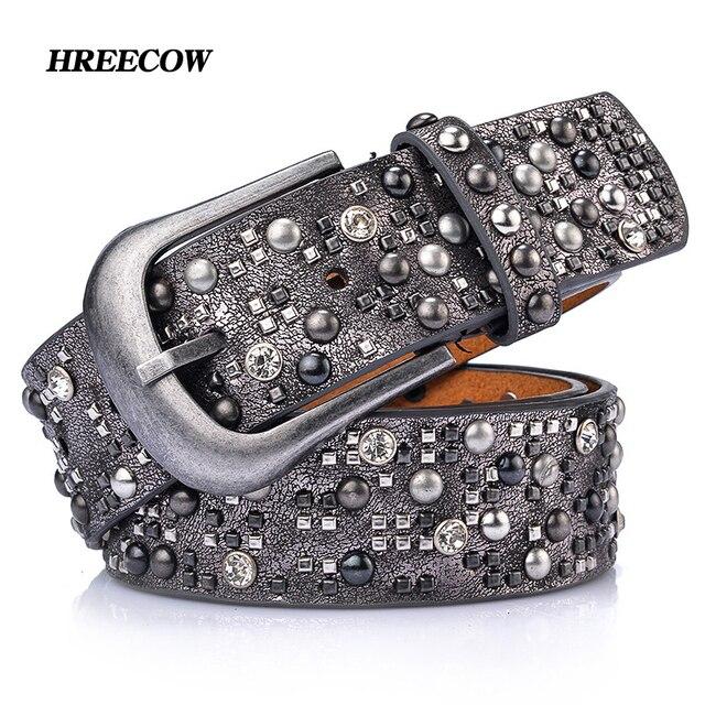 Rivet Inlay Ancient Belt For Women Fashion Pin Buckle Waist Women Belts PU+Genuine  Leather d1bb9e2c4272