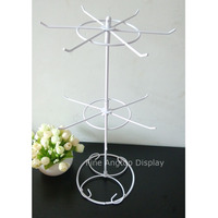 Rotating Metal Iron White Display Rack 12 pegs 2 layer Spinning Tiers for Retail Store Tabletop Counter Stand Shelves