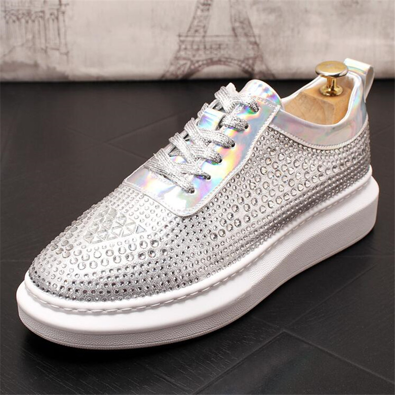 New Dandelion Spikes Flat Leather Shoes Rhinestone Fashion Mens Loafer Dress Shoes Men Casual Diamond Pointed Toe Driving Shoes 6