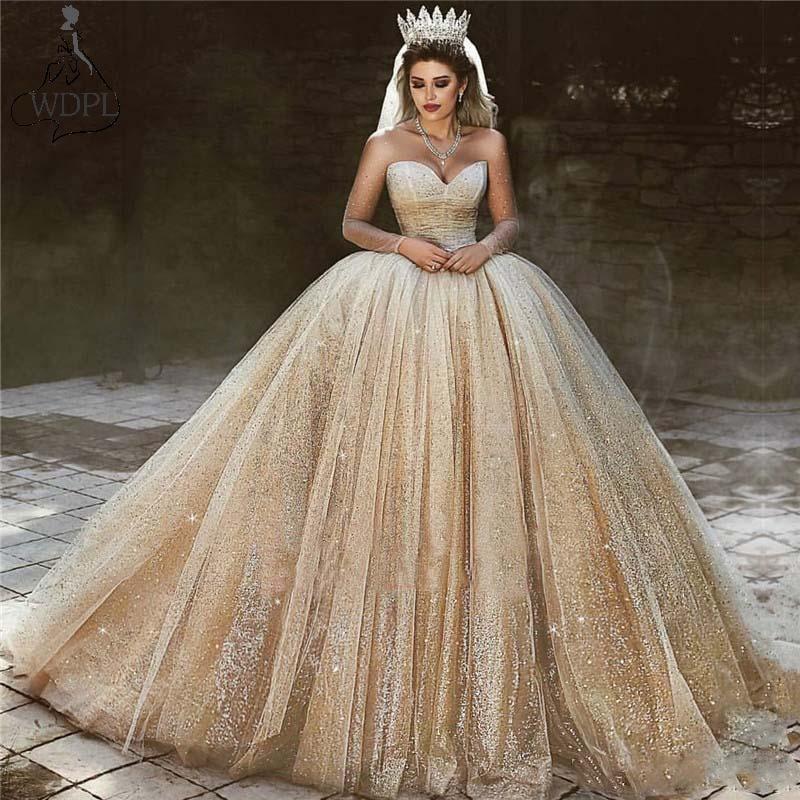 Royal Wedding Ball Gown: Luxury Arabic Gold Wedding Dresses 2019 Sequins Princess