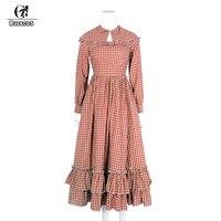 ROLECOS 2018 New Arrival Minimalist Style Solid Women Dress Cotton Medieval Renaissance Women Costume Party Dresses