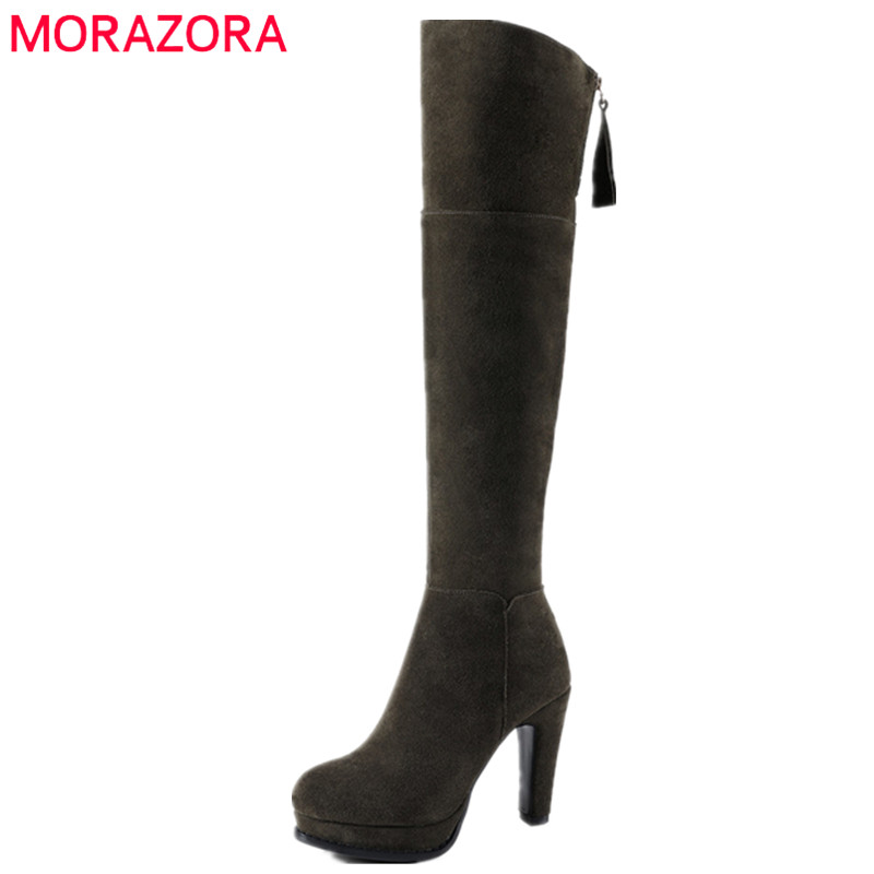 MORAZORA Over the knee boots for women fashion elegant platform boots woman cow suede womens boots solid zip big size 34-41 memunia top quality over the knee boots fashion elegant womens boots female zip flock solid med heels shoes woman big size 34 44