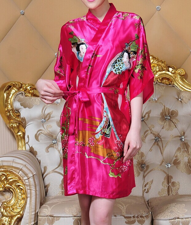 Hot Sale Fashion Hot Pink Ladies Silk Rayon Robe Kimono Bath Gown Nightgown One Size Flower Free Shipping