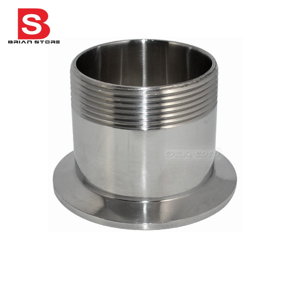 hight resolution of 2 dn50 sanitary male threaded ferrule pipe fitting tri clamp type stainless steel ss304 ssmd
