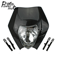 유니버설 motocross 12 v 35 w 블랙 헤드 라이트 enduro supermoto streetighter 프론트 헤드 램프 ktm sx exc yamaha wr ttr honda cr