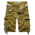 Moda estilo Sólido Del Algodón Cortocircuitos del Verano Flojo Ocasional de Los Hombres Bermudas Masculina Capris Multibolsillos Pantalones Cortos