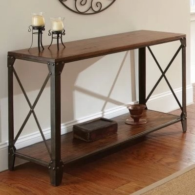 American Country Furniture Wrought Iron Wood Console Table Vestibule Entrance Hall Cabinet Door Side