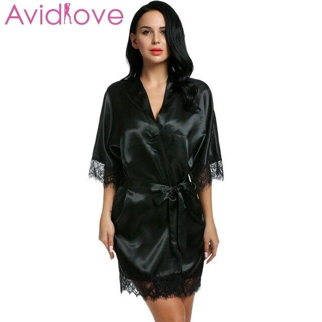 5cf92c29d29d Avidlove Nuit Robe Femmes Court Satin Mariée Robe Dentelle Soie Kimono  Peignoir Avec Amovible Ceinture Demoiselle