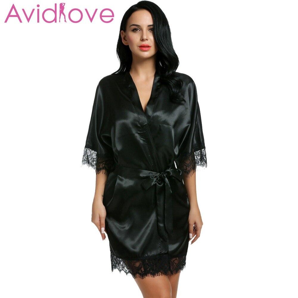 Avidlove Sleepwear Gown Women Short Satin Bride Robe Lace Silk Kimono Bathrobe With Removable Belt Bridesmaid Nightwear Peignoir