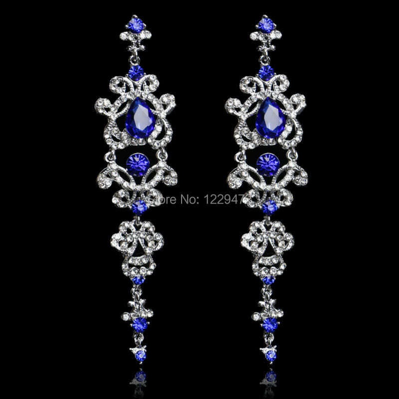 Popular Royal Blue Chandelier Earrings-Buy Cheap Royal Blue ...:Gorgeous Royal Blue Crystal Bridal Long Drop Earrings Silver Plated Chandelier  Earrings for Women Wedding Accessories,Lighting
