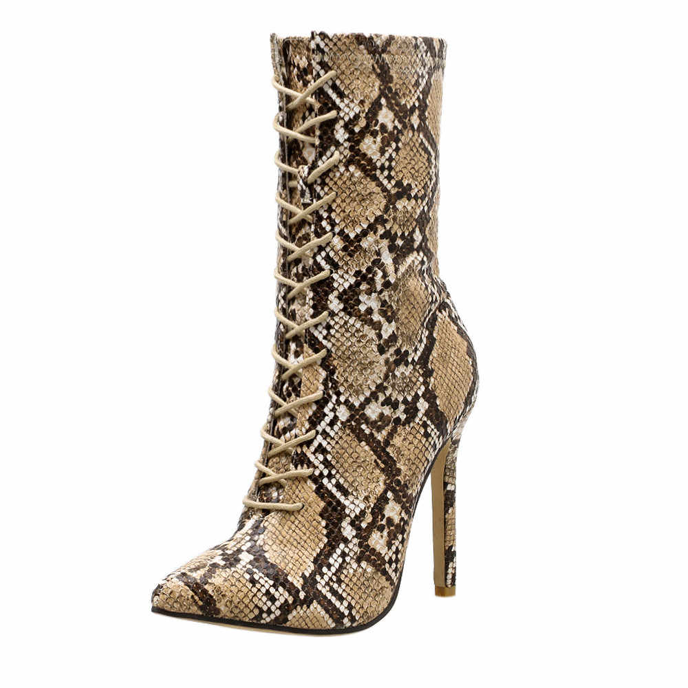 45726560d042 ankle boots for Women Women Pumps Snakeskin Pattern Pointed Toe Zip Thin High  Heels Shoes Boots