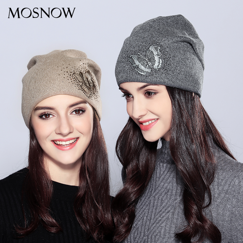 2019 Women's Hats Wool Vogue Butterfly Rhinestones High Quality Autumn Winter Knitted Beanie Hat Female Hats Caps  #MZ718