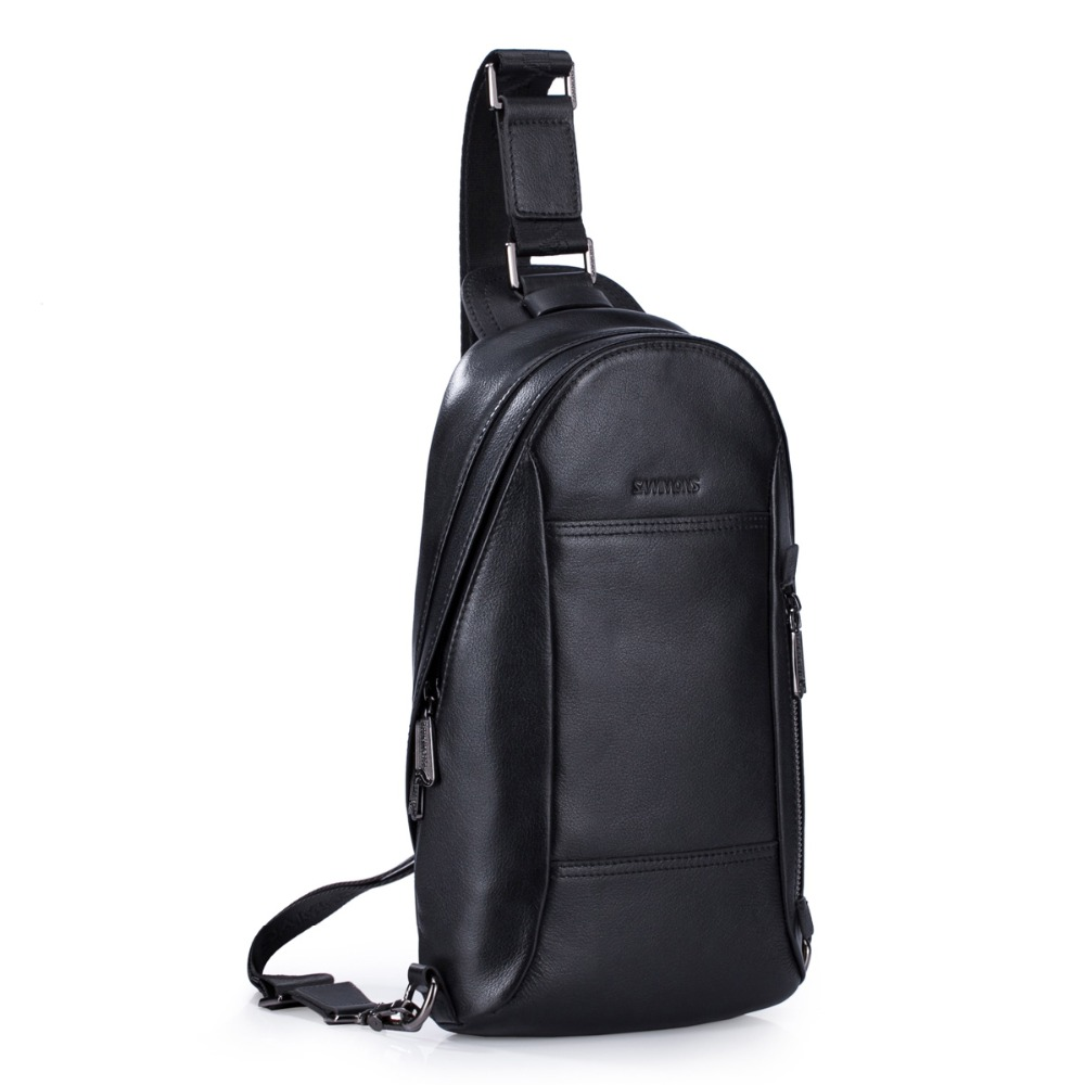 Men's Genuine Leather Sling Chest Pack Shoulder Crossbody Bag Pouch Travel Biking Daypack string sling pack