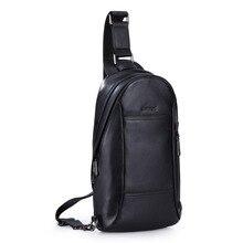 Men's Genuine Leather Sling Chest Pack Shoulder Crossbody Bag Pouch Travel Biking Daypack