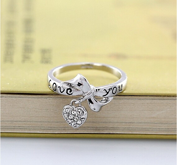 Heart Pendant Ring in Jewelry Gold Plated Heart Charm Ring Pave