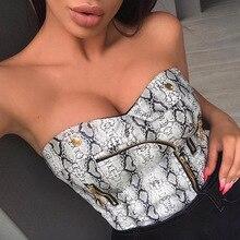 1621491a920 autumn 2019 new women strapless shirt zip up wrap top bandeau tube tops  bralette ladies snakeskin