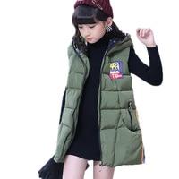 Children Clothing Winter Teenager Girls Outerwear&Coats Thick Princess Girls Vest Hooded Kids Jackets Long Girls Warm Waistcoat