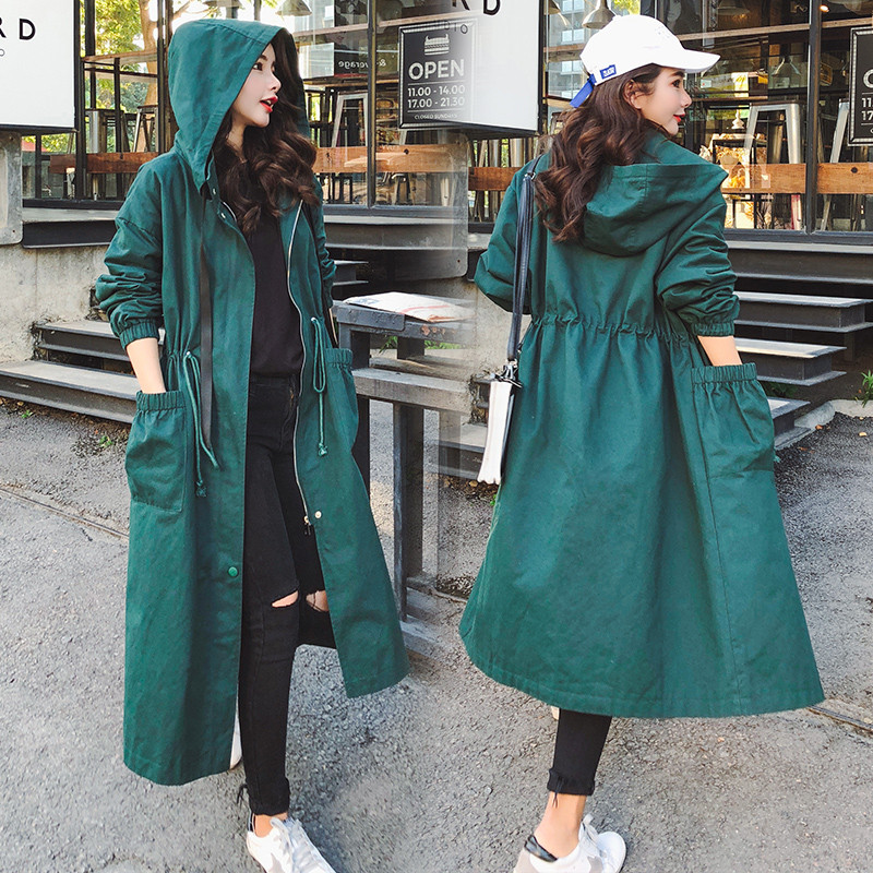 Spring Autumn Long Trench Coat Women Casual Zipper Plus Size Windbreaker Elegant Outerwear Long Sleeve Pocket