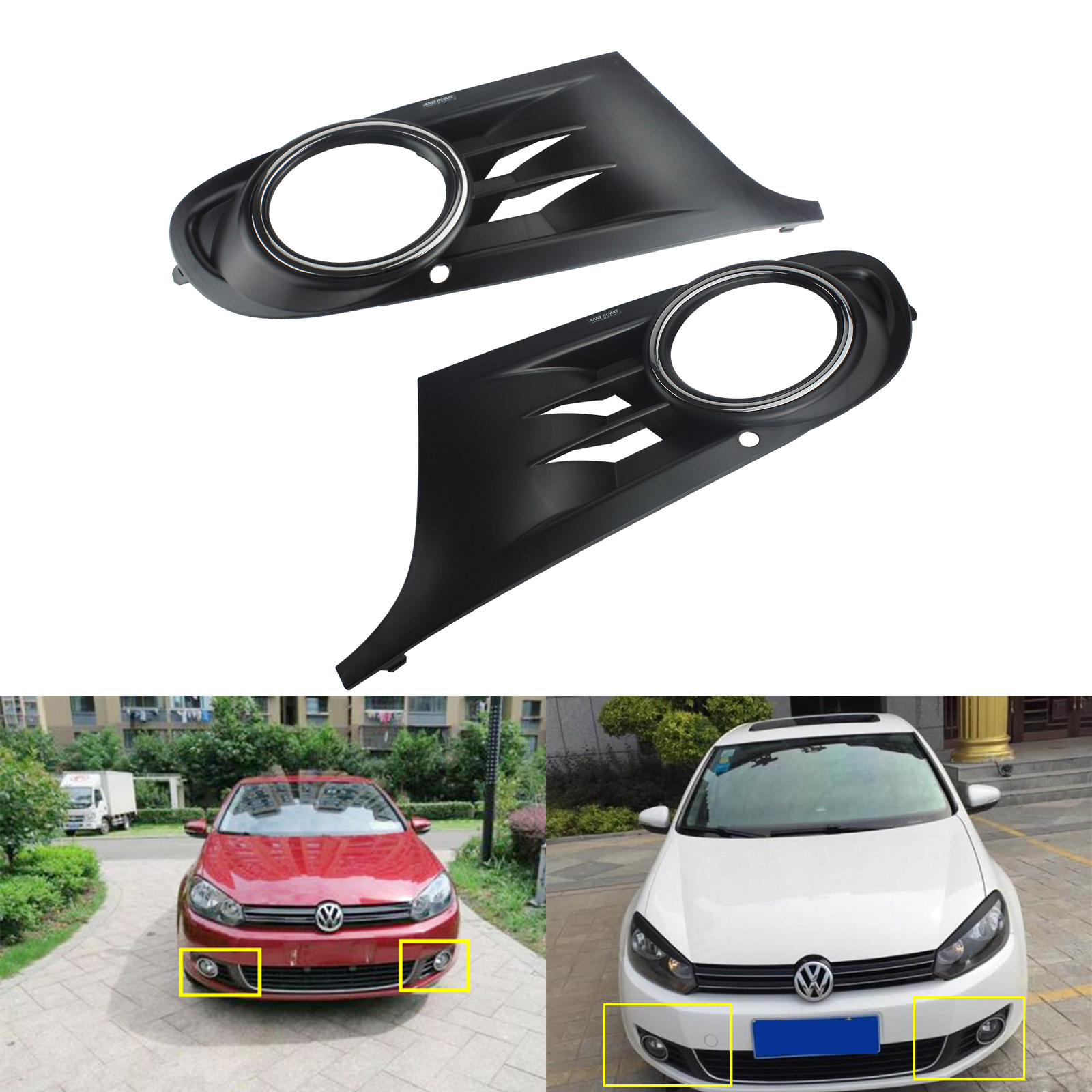 ANGRONG 2x Front Bumper Fog <font><b>Light</b></font> Cover Surround Grill Left & Right For <font><b>VW</b></font> <font><b>GOLF</b></font> <font><b>6</b></font> MK6 2008-2013 image