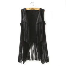 Women Autumn Jacket New Fashion Suedette Ethnic Retro Sleeveless Tassel Fringed Vest Cardigan Waistcoat