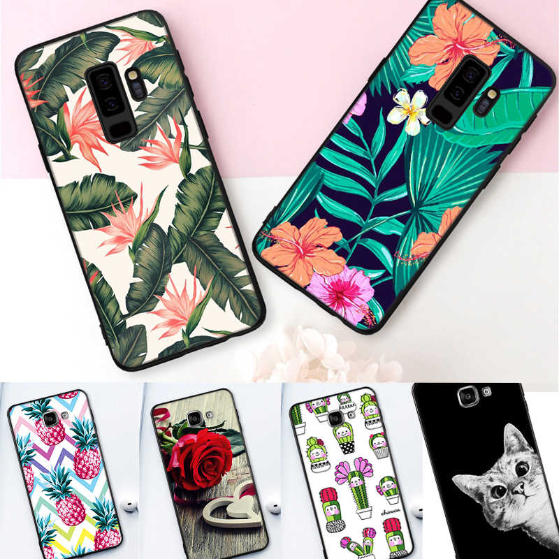 Fashion Patterned Case For Samsung Galaxy S9 Pus A5 J5 2017 EU A3 A7 J3 J7 2016 A8 Plus 2018 Black TPU Matte Phone Cases Cover