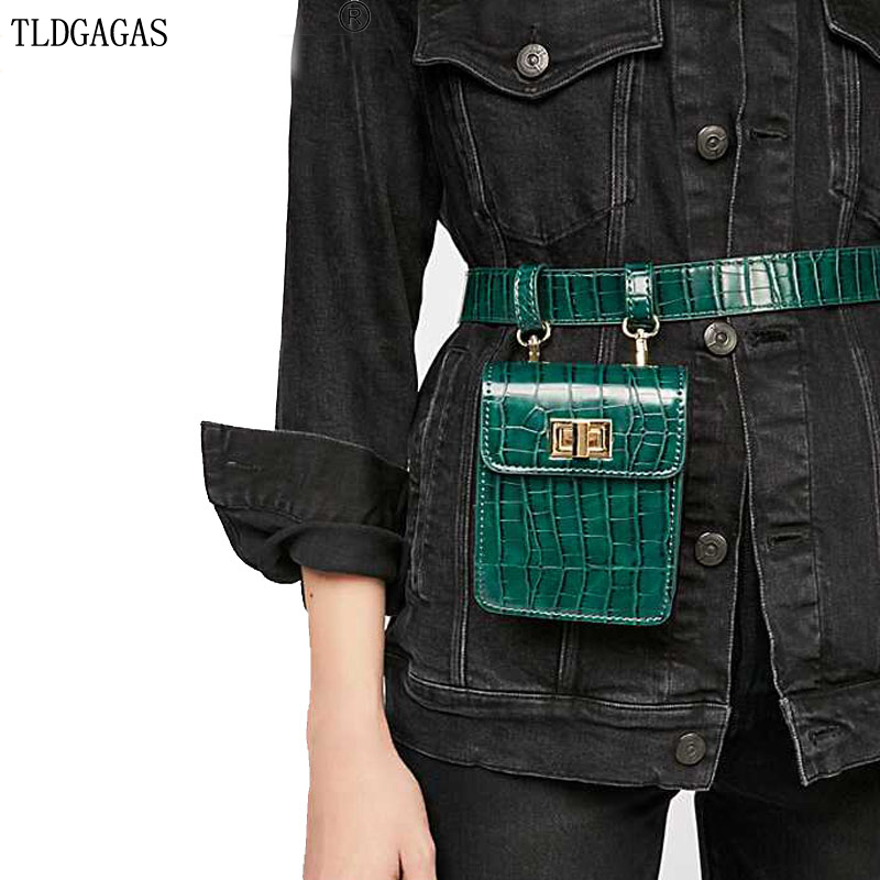 Women's Belt Bag Stone Pattern Waist Bag Crocodile Fanny Pack Quilted  Shoulder Messenger Bag Female Bag For The Belt Snake TS14