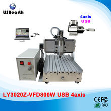 4 Axis CNC Router LY 3020 800W CNC cutting machine with USB interface