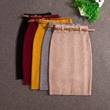 2017 Fashion Skirts Autumn winter Casual Women High Waist Knee-length Knitted Pencil Skirt Elegant slim Long Skirts Black Skirt