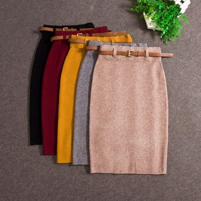 2018 модные юбки осень-зима Повседневная Женская высокая талия колено-длина трикотажная юбка-карандаш Элегантный Тонкий Длинные юбки черный юбка