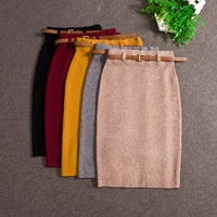 2016 Fashion Skirts Autumn Winter Casual Women High Waist Knee Length Knitted Pencil Skirt Elegant Slim