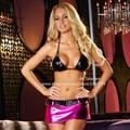Sexy Stripper Exotic Dancewear Tops e saia biquíni metálico para clube de duas peças Lingerie