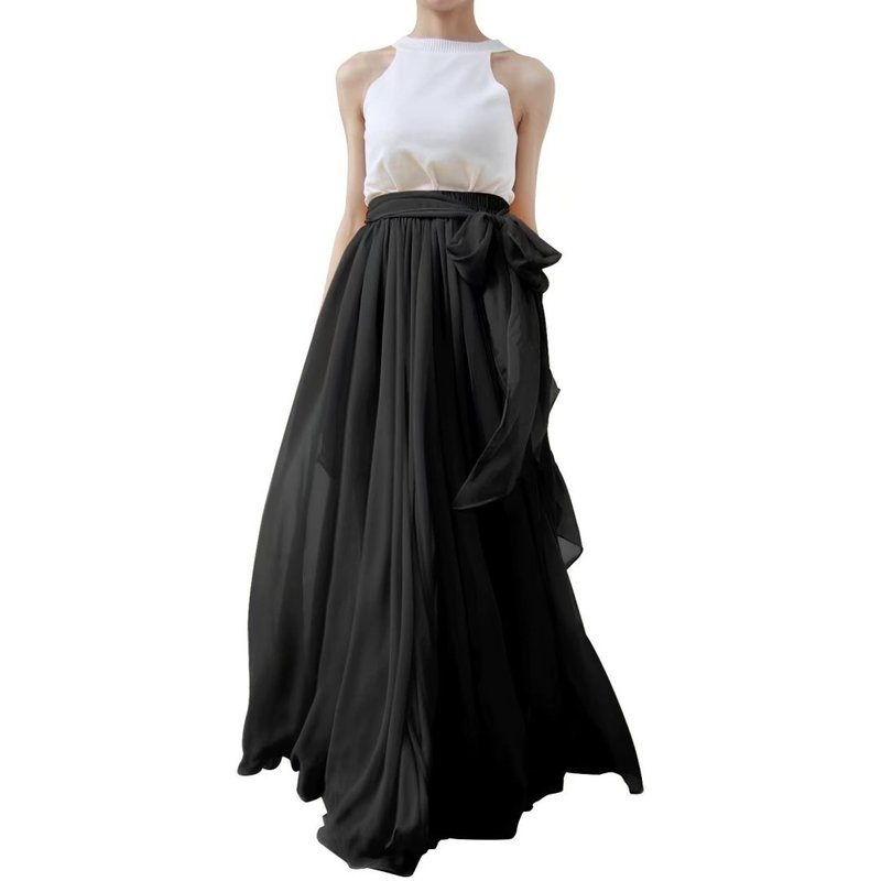 Women Wedding Maxi Puffy Tulle Skirt Floor Length A Line with Bowknot Belt Wedding Party Evening Long Skirt Saias Femininas